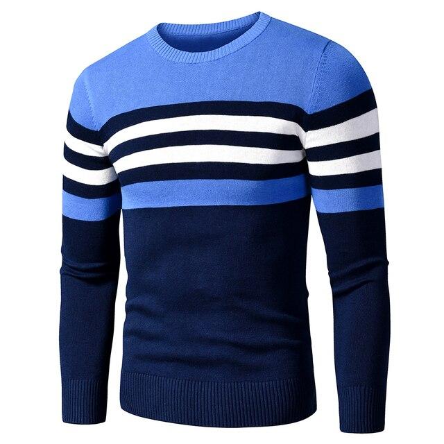 Мужской хлопковый свитер в полоску 3