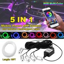 6 в 1 RGB светодиодный атмосферу автомобильный светильник Интерьер окружающего светильник волоконно-оптический полоски светильник с помощью...