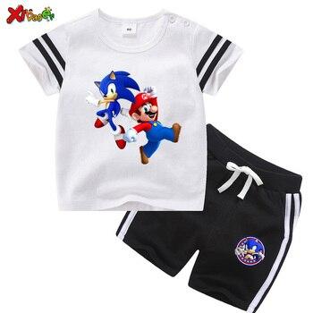 цена на Toddler Boy Clothes Summer T Shirt Boys Sports Sets 2 Pcs T-shirt + Shorts Suit Baby  Kids Set Summer Boys Clothing Set Cartoon