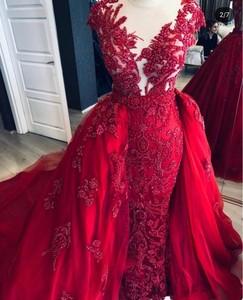 Image 1 - Red Evening Dress Sheath Flowers Lace Dubai Saudi Arabic Evening Gowns 2020 Sexy Side Slit Prom Dresses vestidos