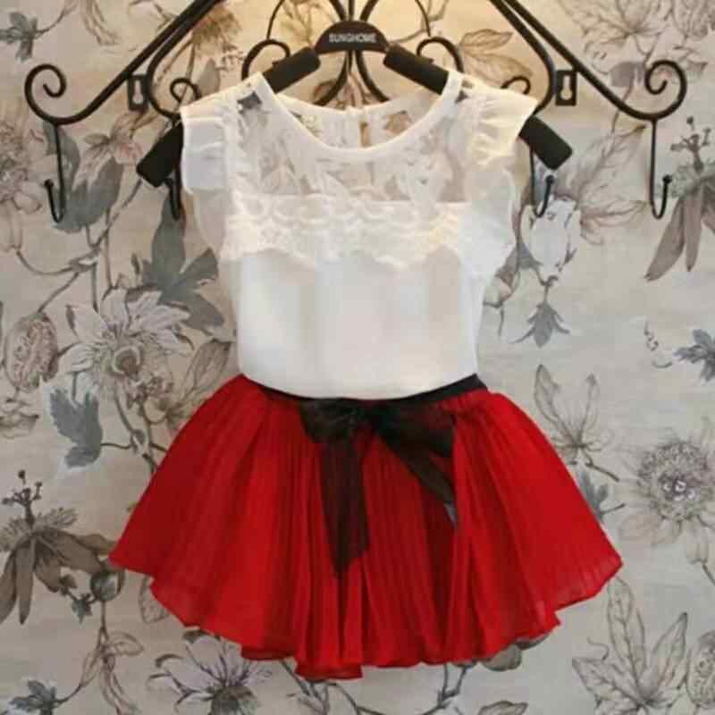 Chiffon Meisjes Kleding Set Wit Groen Rood Kant Shirts Tutu Rok 2 Stuks Kinderen Pakken Voor Meisje Kids Baby Zomer kinderen Kleding