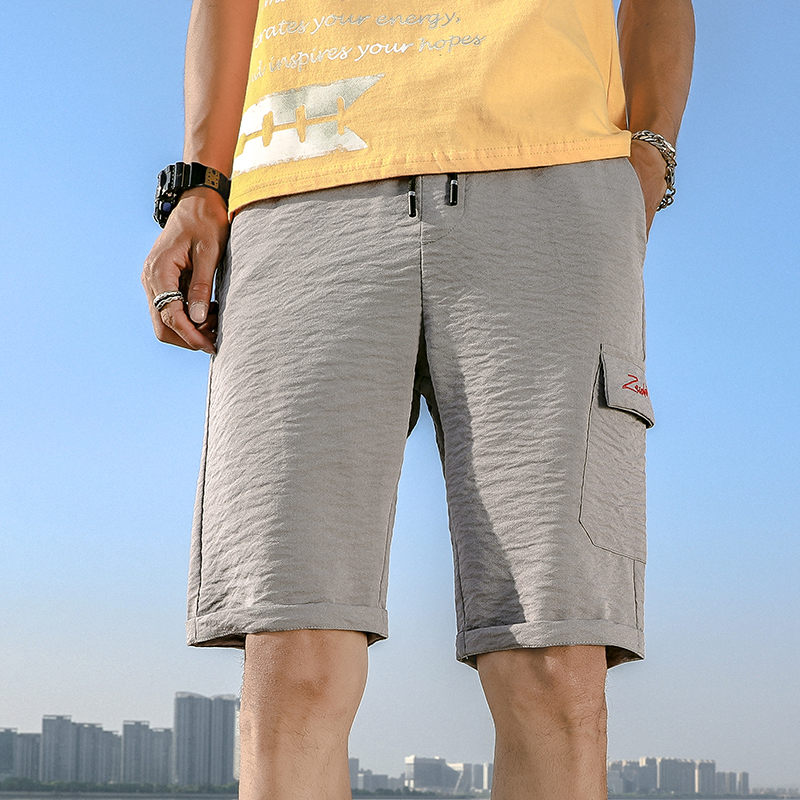 Cool Silk Mens Shorts 2020 Summer Solid Beach Shorts Homme Polyester Compression Shorts Male Soild Knee Length Shorts Pants New