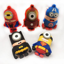 Indah Kartun Superman Pahlawan Flashdisk Mata Besar 32GB USB Flash Drive 64GB 128GB Batman U Disk 8 gb 16GB Pen Drive Kapten Amerika(China)