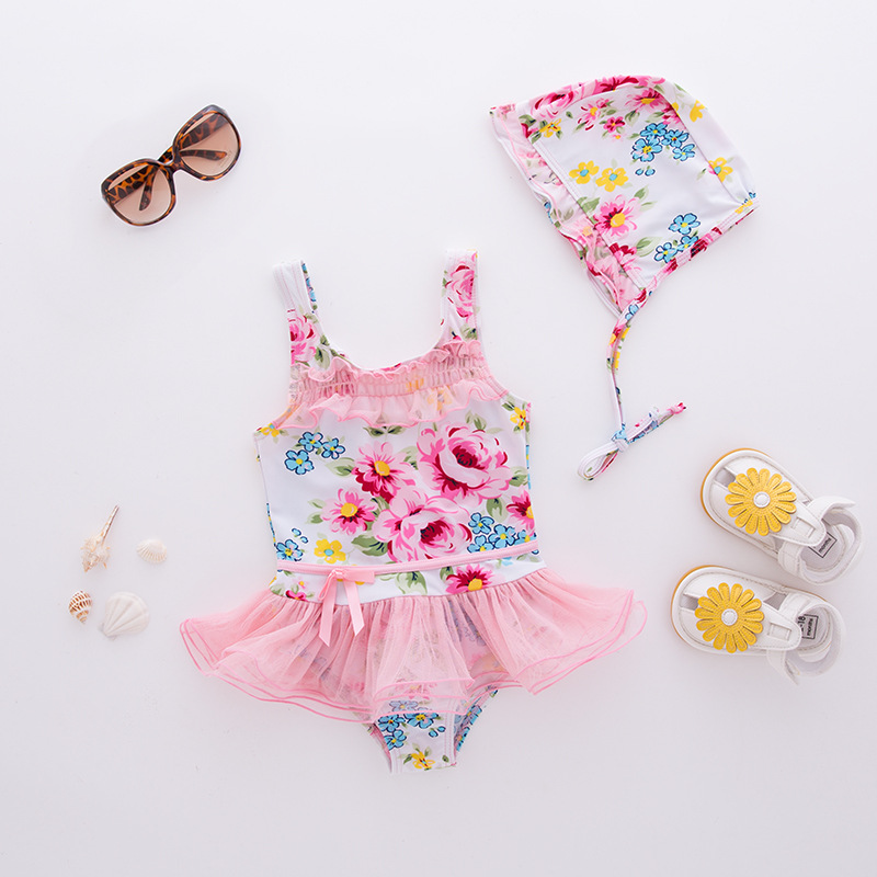 Girl'S One-piece Swimming Suit Pink Mesh Skirt Flower Hooded-Children Hot Springs Bathing Suit