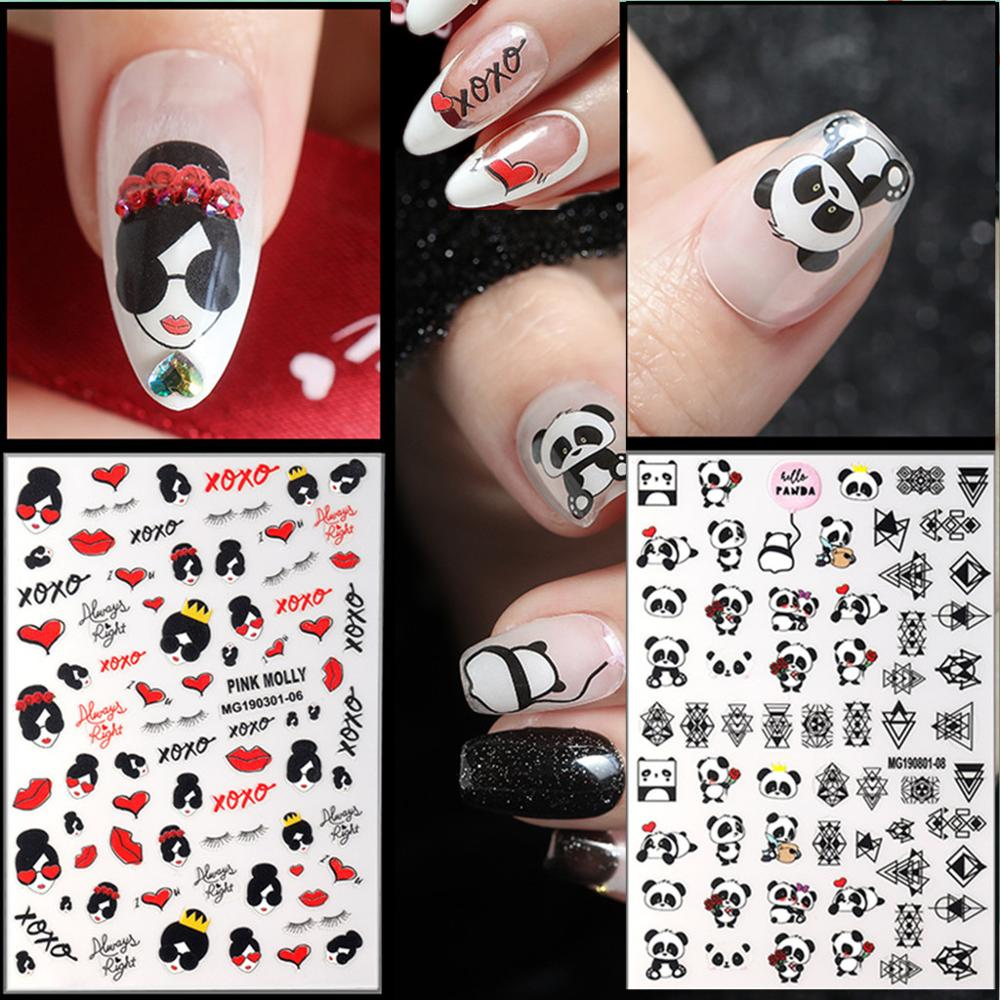 Newest WG301-06 cartoon design nail sticker 3d template nail decal Japan style rhinestones DIY decoration for nail art tips