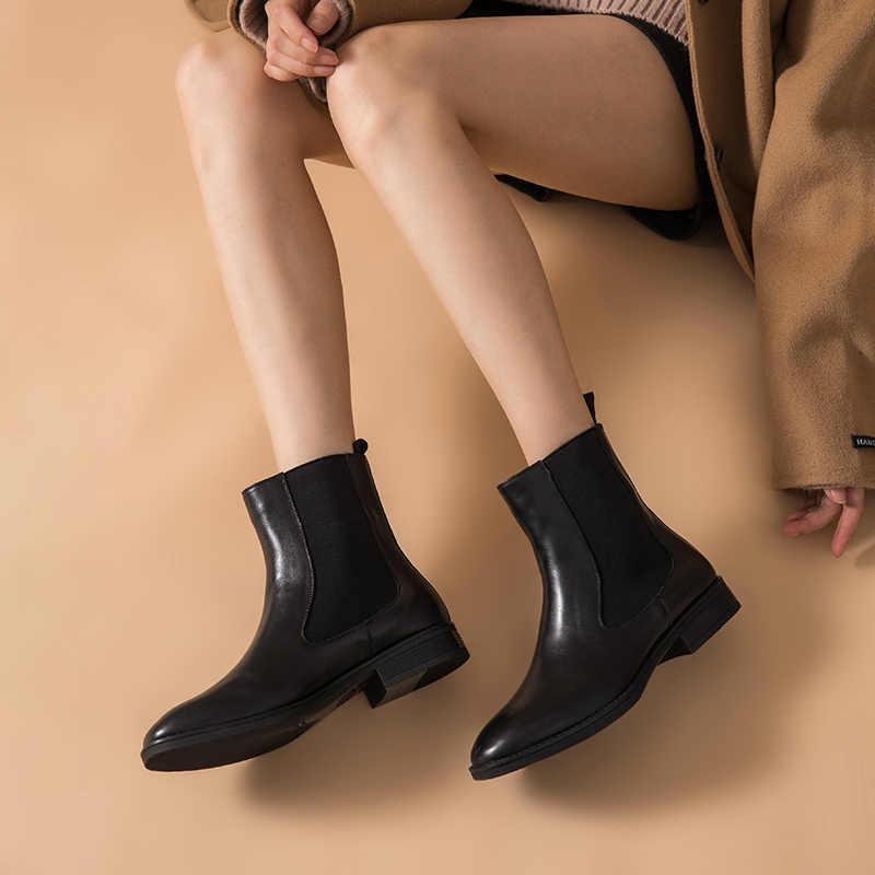 BeauToday Chelsea çizmeler kadın marka yeni hakiki dana deri yuvarlak ayak bileği Bootie sonbahar kış ayakkabı el yapımı 03608