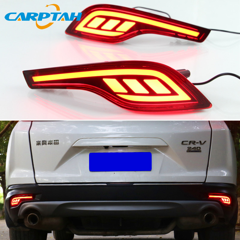 2PCS <font><b>LED</b></font> Rear Fog Lamp For <font><b>Honda</b></font> CR-V <font><b>CRV</b></font> 2017 <font><b>2018</b></font> 2019 Car <font><b>LED</b></font> Bumper Light Brake Light Dynamic Turn Signal Indicator Reflecto image