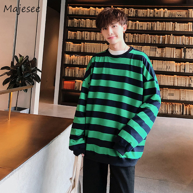 Hoodie Men Striped Simple Funny Harajuku Top Mens Hoodies Long Sleeve Streetwear Loose Stylish Males O-neck Oversize Clothes