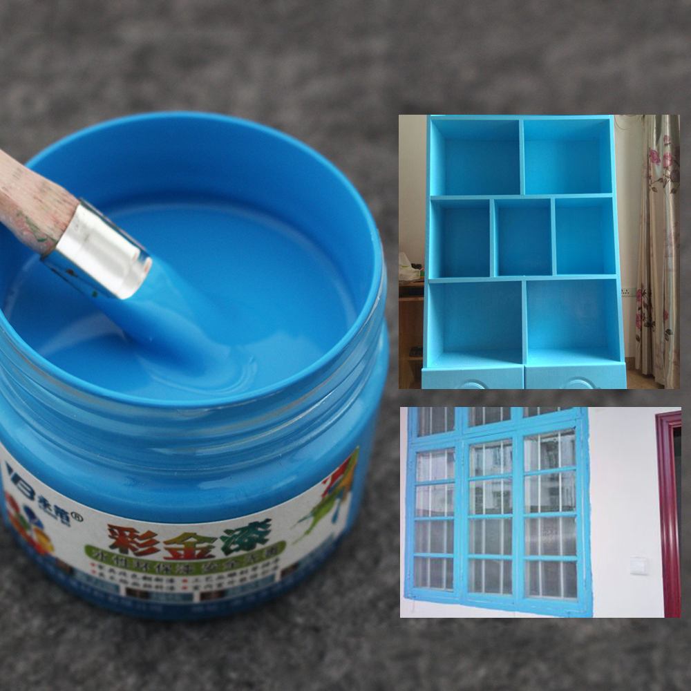 Blue Wood Varnish Acrylic Lacquer Coloring Painting Water-based Paint for Fabric Furniture Wall Metal Hand-painted 100g
