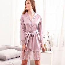 Ночная рубашка атласное кружевное женское кимоно банный халат