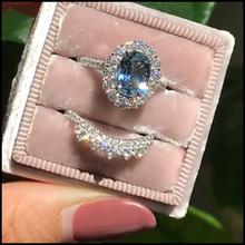 Женское кольцо с овальной огранкой, комплект из 2 колец с натуральным кристаллом в стиле ретро, ювелирные украшения для годовщины, свадьбы, б...