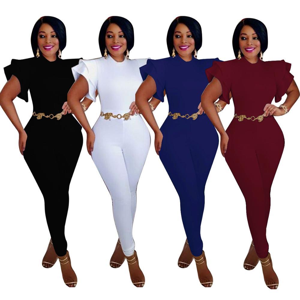 Echoine Women Sexy Jumpsuit O-Neck Ruffles Short Sleeve Long Pencil Pants Female Graceful Party Solid Rompers Sheath Streetwear