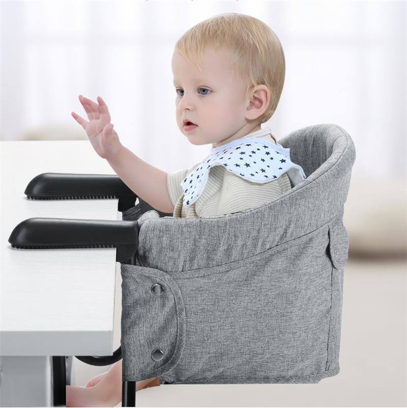 Portátil do bebê highchair cadeira de alimentação dobrável assento booster cinto de segurança jantar gancho-na cadeira arnês infantil almoço almofada esteira