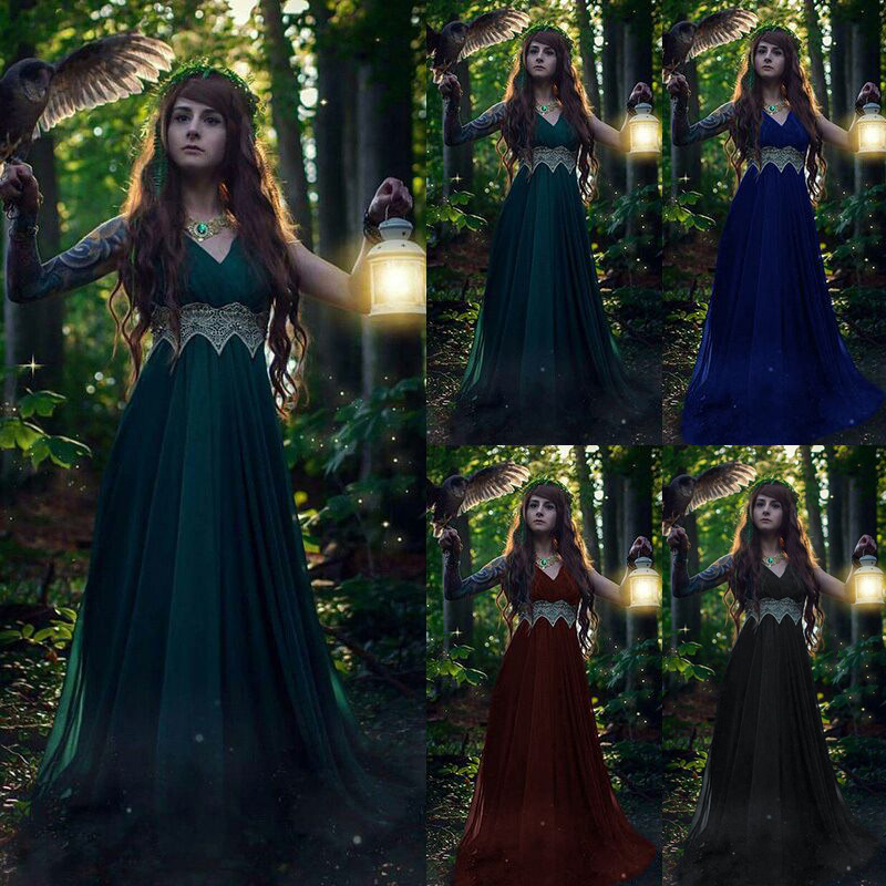 Women Victorian Cosplay Elf Princess Retro Formal Dresses Medieval Maxi Halloween Costume Femme Lace Sexy Party Vestidos Outfits