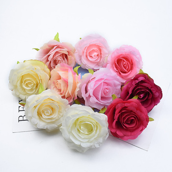 2/5/10 Pieces 9CM Silk Roses head wedding decorative flowers wall christmas decorations for home artificial flowers wholesale image