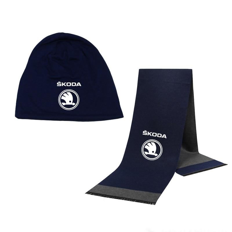 Winter Beanie Hat Skoda Car Logo Men Hat Scarf Solid Color Warm Cotton Scarf Hat Set Male Female Sports Hat Scarf Set 2 Pcs