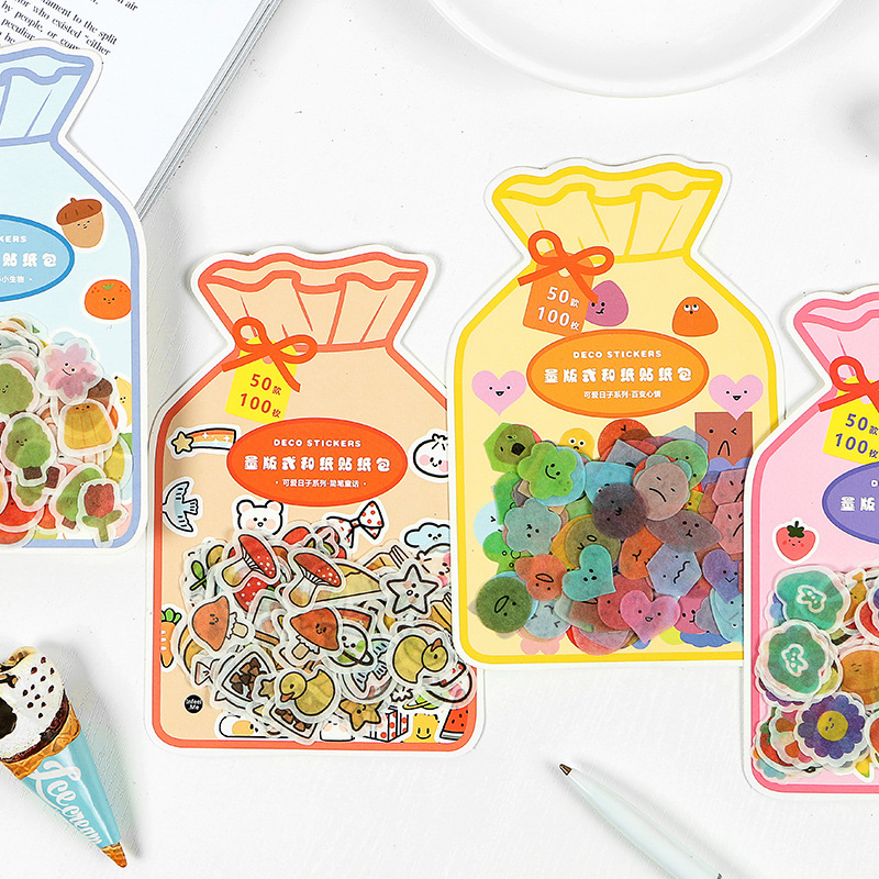 100PCS/PACK Kawaii Cute Flower Fruit Sticker Diary Marker Stickers Scrapbooking School Office Supplies Bullet Journal Sl2257