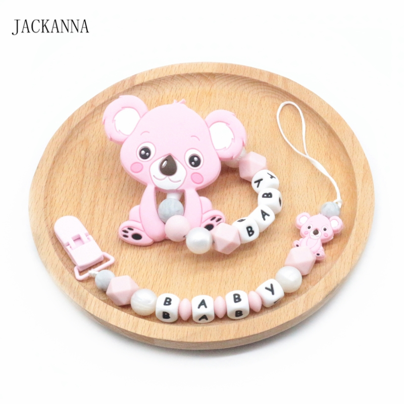 Personalise Baby Pacifier Clips Set DIY Silicone Koala Baby Teething Bracelet Toy Newborn Baby Pacifier Holder Chain BPA Free