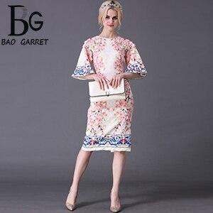 Baogarret Summer Style Designer Runway Dress Womens Flare Sleeve Slim Printed Jacquard Appliques Sheath