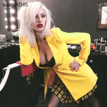WannaThis Yellow Color Suit Blazer Jacket Women Fashion Long Sleeve Coat Fall Elegant Double Breasted Suits Casual Female Ladies