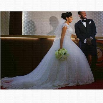 Vestido De Noiva Lace Appliques Ball Gown African Wedding Dresses 2021 Vintage Short Sleeves Bride - discount item  32% OFF Wedding Dresses