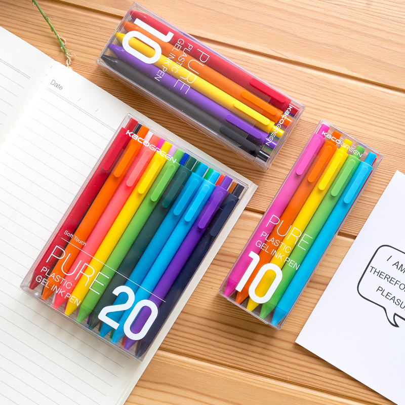 KACO Black/Colored Ink Retractable Gel Pens Set For Kids Adult Coloring Bullet Journal 0.5mm Extra Fine Point Cute Stationery
