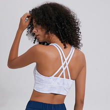 Beautiful Back Padded Workout Fitness Sports Bra Women Crisscross Straps Push Up Printing Gym Yoga Bras Athletic Crop Tops