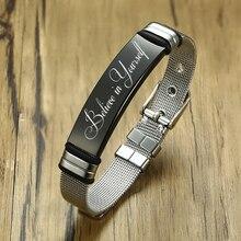Personalisieren Inspirational Zitate Armbänder für Frauen Edelstahl Einstellbare Mesh Band Benutzerdefinierte Glauben in Yourself Schmuck