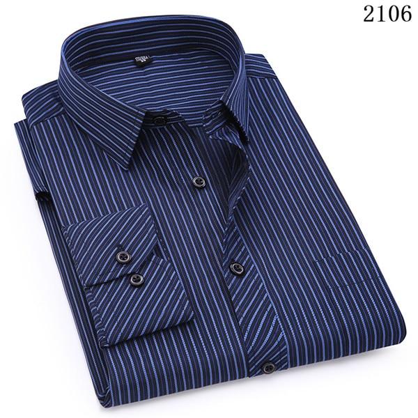 Plus Large Size 8XL 7XL 6XL 5XL Mens Business Casual Long Sleeved Shirt Classic White Black Dark Blue Male Social Dress Shirts 14