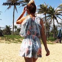 IUURANUS summer Women Floral Print Chiffon Playsuit Beach Boho Halter Sleeveless Romper Party Short Jumpsuit Ruffle Playsuit floral print ruffle hem romper