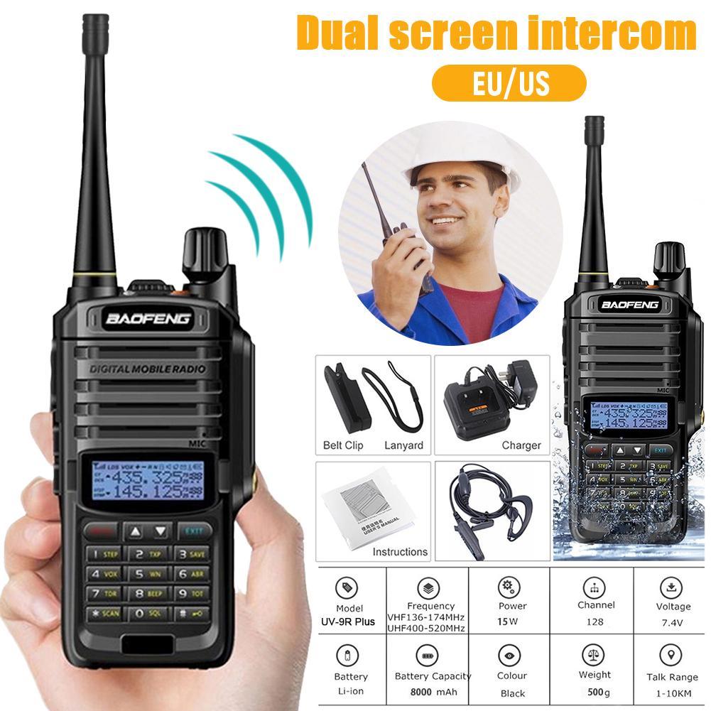 UV-9R Plus Walkie Talkie Dual-frequency Handheld Two-Way Waterproof FM Adjustable Digital Transceiver For Baofeng