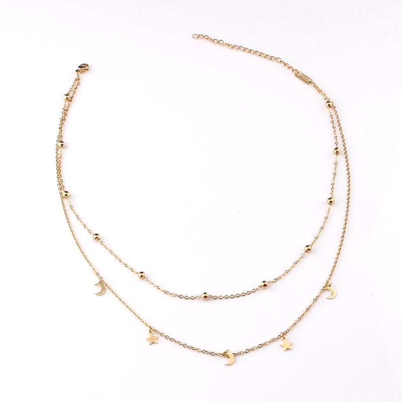 Модное многослойное ожерелье из нержавеющей стали женское золотого