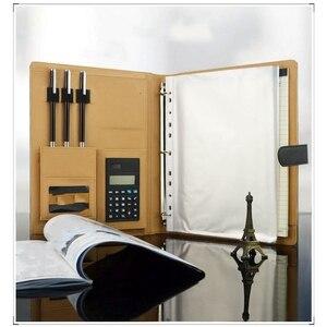 Image 5 - 다기능 A4 폴더 Pu 가죽 다기능 폴더 사무 용품 비즈니스 관리자 계산기