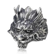 925 sterling silver Jewelry Punk Rock Vintage Dragon Opening Ring Men Women Adjustable
