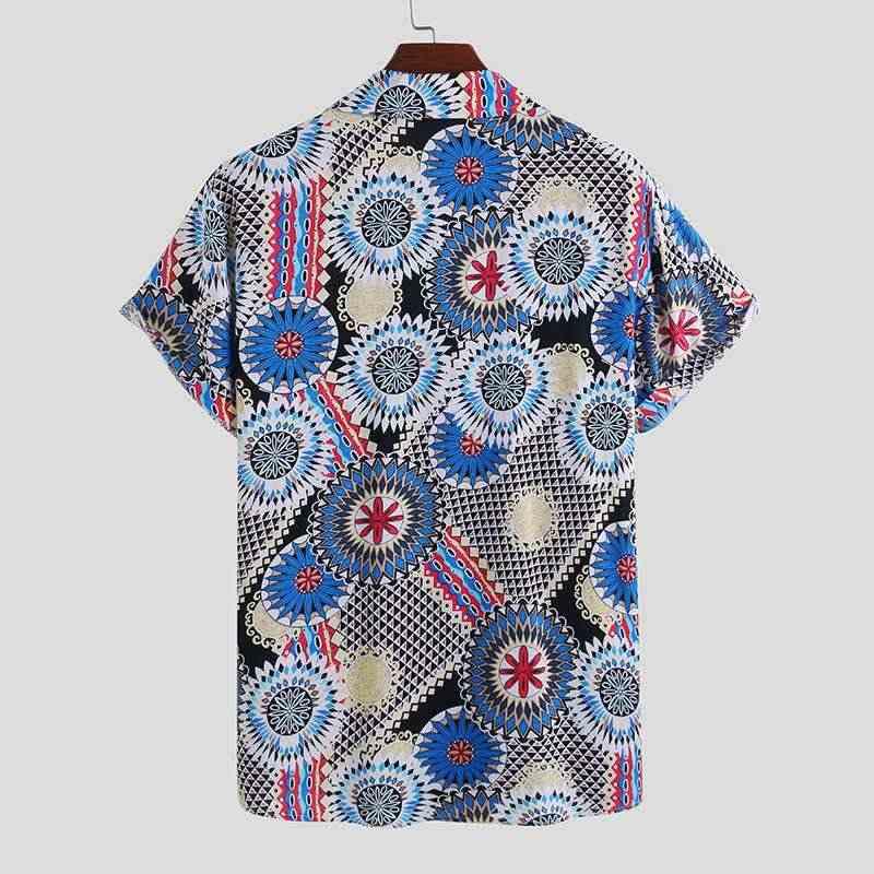INCERUN erkekler baskılı gömlek Casual kısa kollu Turn Down yaka gömlek adam çiçek gevşek düğmeleri bluz Streetwear yaz üstleri 5XL