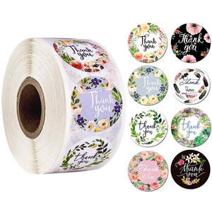 500PCs Thank You Stickers Seal Labels with Flower Round Envelopes Seal Stickers