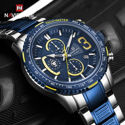 NAVIFORCE Mens Quartz Multifunction Chronograph Sports Watches Fashion Waterproof Military Top Luxury Stainless Steel Wristwatch