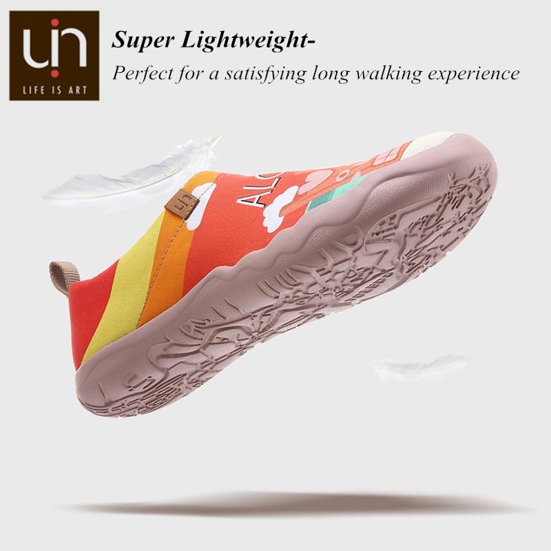 Uin sunset lake design 캔버스 스니커즈 여성 슬립 온 캐주얼 플랫 슈즈 통기성 라운드 투 여행 로퍼-에서여성용 플랫부터 신발 의  그룹 3