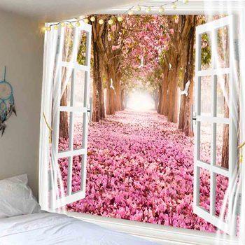 WOSTAR romántico cerezos fuera de la ventana 3D impreso tapiz colgante de pared de Mandala de pared tapiz estera de Yoga