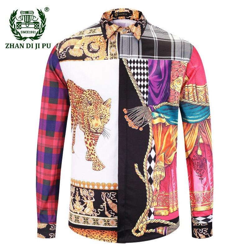 브랜드 의류 드레스 셔츠 인쇄 메두사 셔츠 남성 긴 소매 파티 클럽 디자이너 탑 남성 나이트 클럽 스네이크 셔츠 chemise homme