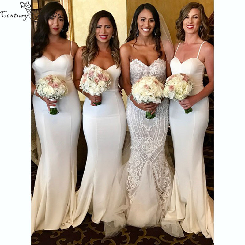 Ivory Mermaid   Bridesmaid     Dresses   2019 Backless Spaghetti Straps Long Simple Maid Of Honor   Dress   Prom   Dress   Wedding Guest Gowns