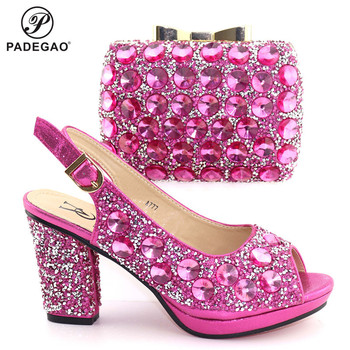 Fuchsia Color Italian Design Platform Nigerian Shoes and Bag Set High Quality Decorate with Rhinestone Sandals African Party Set