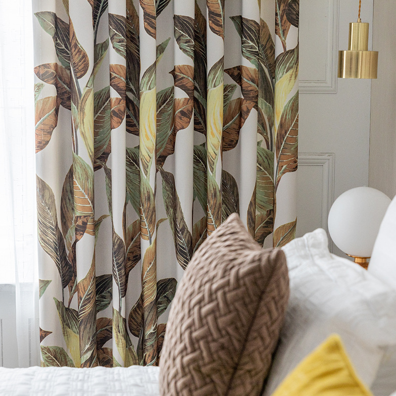 Modern Simple Double-sided Shading Leaf Printing Curtains For Living Dining Room Bedroom.