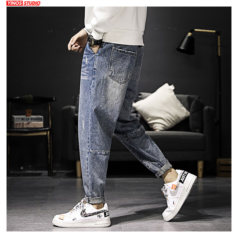 Dropshipping 2020 Vintage Toursers Mens Pants Male Distressed Jeans Spring Mens Streetwear Cargo Pocket Denmin Pants