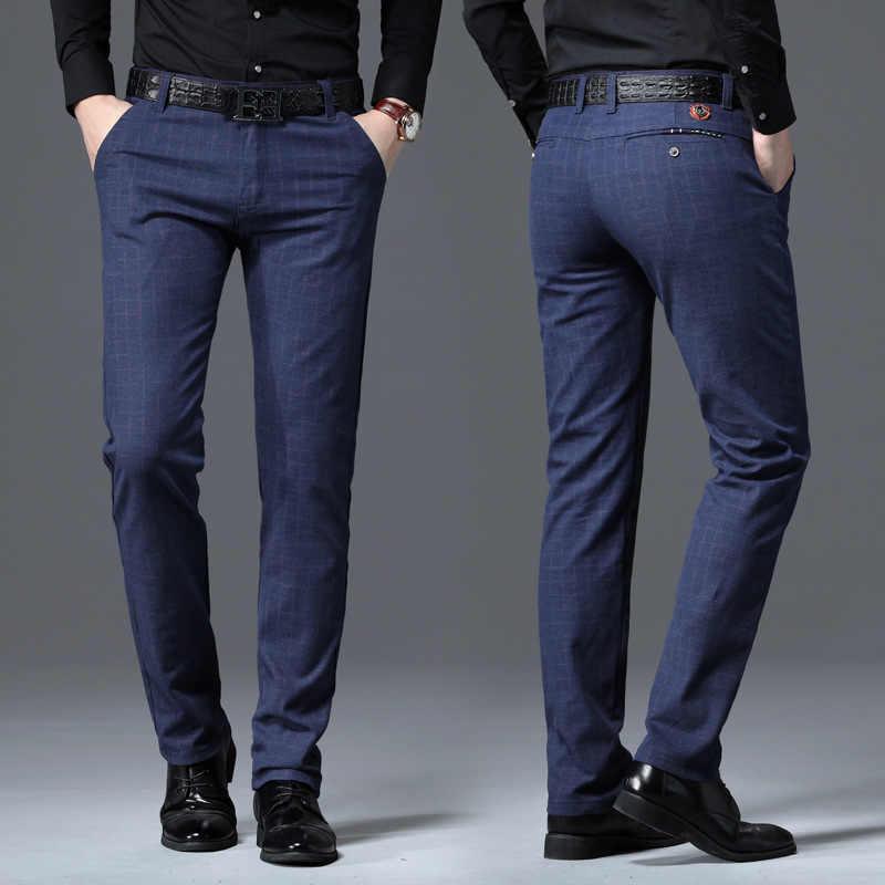 Novedad De Primavera De 2020 Pantalones Ajustados Informales Para Hombre Pantalones Elasticos A La Moda De Negocios Pantalones De Tela Escocesa Con Cremallera Para Hombre Pantalones Informales Aliexpress