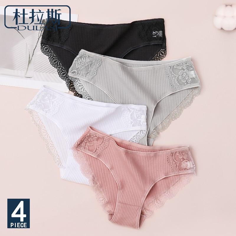 Cotton Sexy Mid Waist  Wonman Panties Antibacterial Plus Size Underwear Ladies' Lace Stripe Leggings DULASI 4pcs/lot