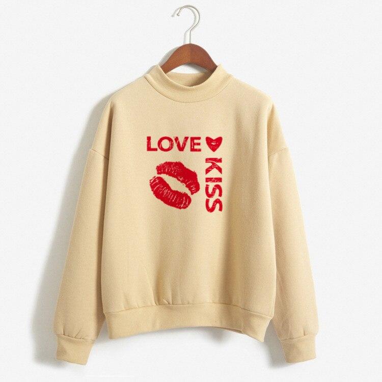 2019 Women Casual Hoodies Print Love Kiss Hooded Long Sleeve Fleece Top Oversize Sweatshirts Streetwear Women Hoodies Sky Blue
