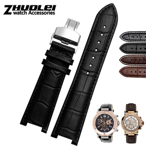 Image 2 - Echtes leder armband für GC armband 22*13mm 20*11mm Kerb strap withstainless stahl schmetterling schnalle