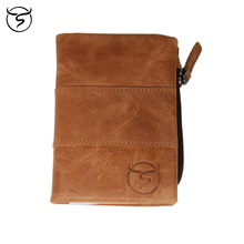 Cow genuine leather wallets Coin Bag high quality Crazy horse leather Dollar Slim puse RFID