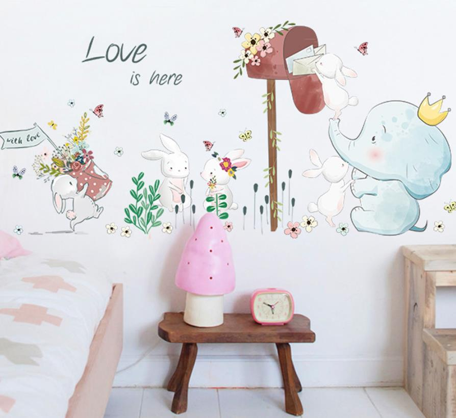 Animaux Ballon Sticker Mural enfants éléphant Chat Autocollant Murale